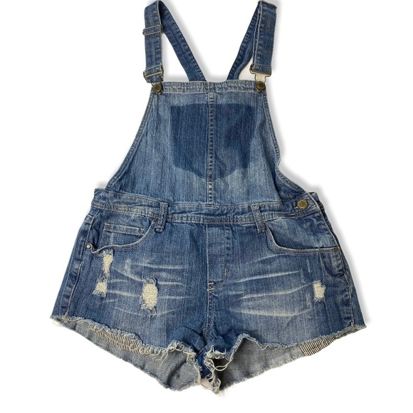 Blank NYC Distressed Denim Overall Shorts